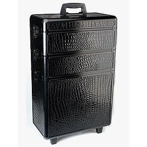 Sibel -Trolley-Koffer-Modular-Zwart-Croco